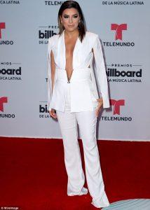 Eva Longoria goes braless as she wears revealing jacket in bid to steal show at Billboard Latin Music Awards