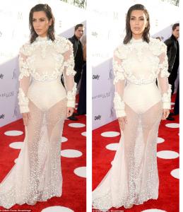 Kim Kardashian stuns in Embellished see-through Gown